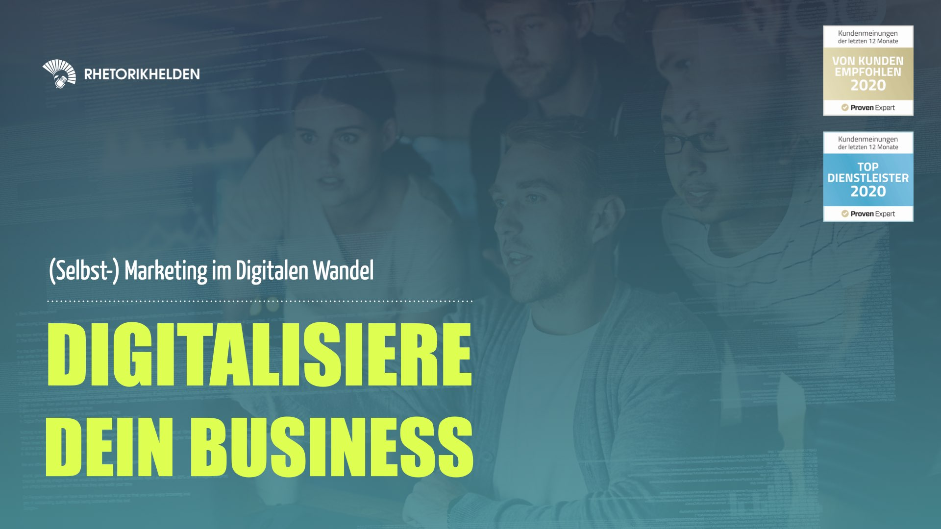 Titelbild zum offenen Workshop Digitalisiere dein Business der Rhetorikhelden